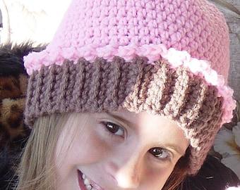 Girls Crochet Cupcake Beanie Custom Made to Order You Choose Color