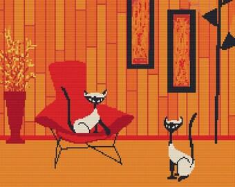 Modern cross stitch kit 'Siamese If you please' by Kerry Beary - Retro cross stitch