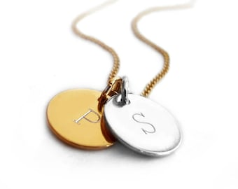Mixed Metal Necklace, Engraved Tag, Gold Plated Silver Jewelry, Personalized Pendant Necklace, Two Initials, Two Disc Necklace