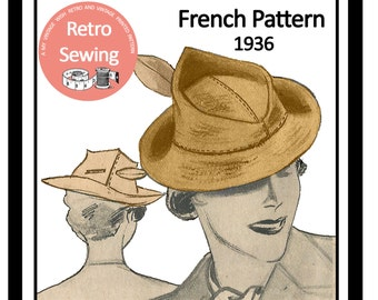1930s Vintage French Sewing Pattern - ladies Hat - PDF Sewing Pattern - Instant Download