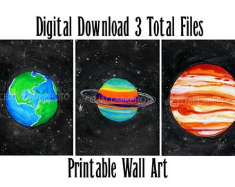 Digital Download Space Planets Printable Wall Art