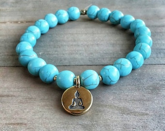 GUARDIAN Turquoise Howlite Calming Stretch Mala Bracelet // Yoga // Meditation // Healing Crystals