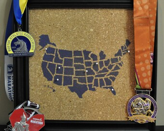 50 States Marathon / Half Marathon Pinnable Cork Tracking Map / Run the USA US Travel Corkboard Map / Gift for Runners / Been There Ran That