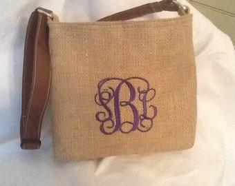 Simply Elegant Monogram Burlap Cross body Bag/Purse