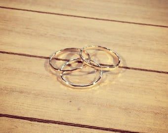 Single Rose-Gold, Gold and silver hammer stacking ring
