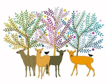 10 x 8, Illustration art, Deer print, Multicolored art, Animal drawing, Rainbow colors, Deer under trees, Deer Art, Modern Art, Wall Art,