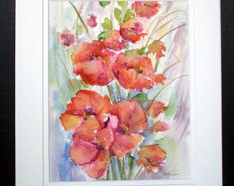 Poppies Red  Original Watercolor Painting, Floral Art, Wall Art, Home Decor, Red Flowers