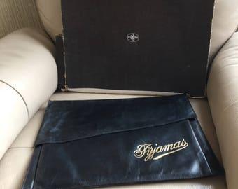 Vintage 1930s black leather AR pyjama case in original box