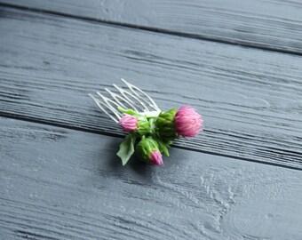 scottish thistle jewellery, flower comb, cold porcelain, bride scottish, scottish thistle hair, green headband, folk flower, scottishthistle