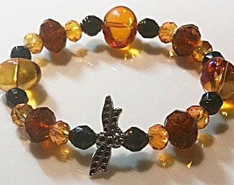 Amber dragonfly bracelet