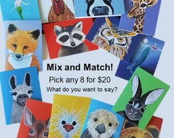 You pick! Any 8 animal note cards