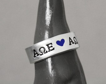 Sorority Ring, Alpha Omega Epsilon Ring, Sorority Jewelry, Hand Stamped Jewelry, Personalized Jewelry, Alpha Omega Epsilon Jewelry