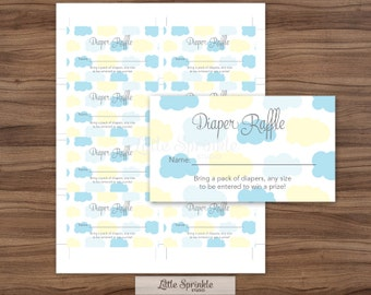 Baby Shower Diaper Raffle Card Blue Clouds / Diaper Raffle Ticket / Baby Boy Shower / Printable Digital / INSTANT DOWNLOAD