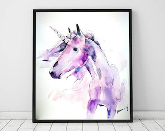 Unicorn watercolor wall art - original painting. Nursery purple decor for a girl's room. Unique gift. Water color. Contemporary water colour