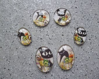 Illustrated cats glass ovals and 6 round cabochons