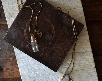 Message In A Bottle Initial Necklace - Vial Necklace - Glass Bottle - Customize This Necklace