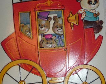 Red Punch Out Birthday Stagecoach Vintage Norcross Greeting Card for Grandson Unused Near Mint