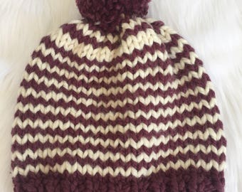 Striped Knit Slouchy Hat Chunky Pom Pom Wool Beanie / Ribbed Knitted Slouch Toque Slouch / Women's Handmade Winter Accessory