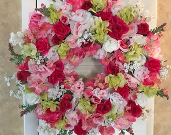 Front Door Wreaths, Pink Wreaths, Spring Wreaths, Flower Wreaths for Front Door, Floral Wreaths for Door, Pink Flower Wreath