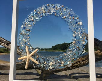 "Sea Glass Wreath, Sea Glass Art, Beach Decor, Christmas  15"" x 13"""