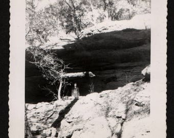 Vintage Snapshot Photo Camouflaged Woman Standing Under Rock Overhang 1950's, Original Found Photo, Vernacular Photography
