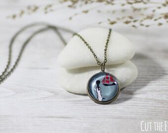 Blue Necklace - Jewelry - Nautical Jewelry - Art Jewelry - Unique Jewelry - Vintage Style Jewelry (073)