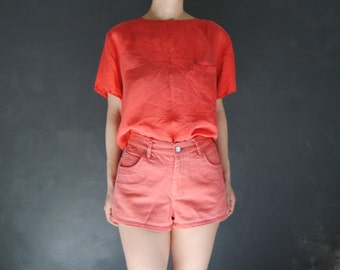 90s high waist denim shorts -- vintage jean shorts, high waisted, coral, salmon pink, grunge, 1990s 90s clothing