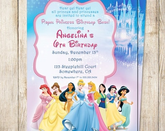 Royal Princess Invitation 5x7 - Digital File - PRINT IT YOURSELF