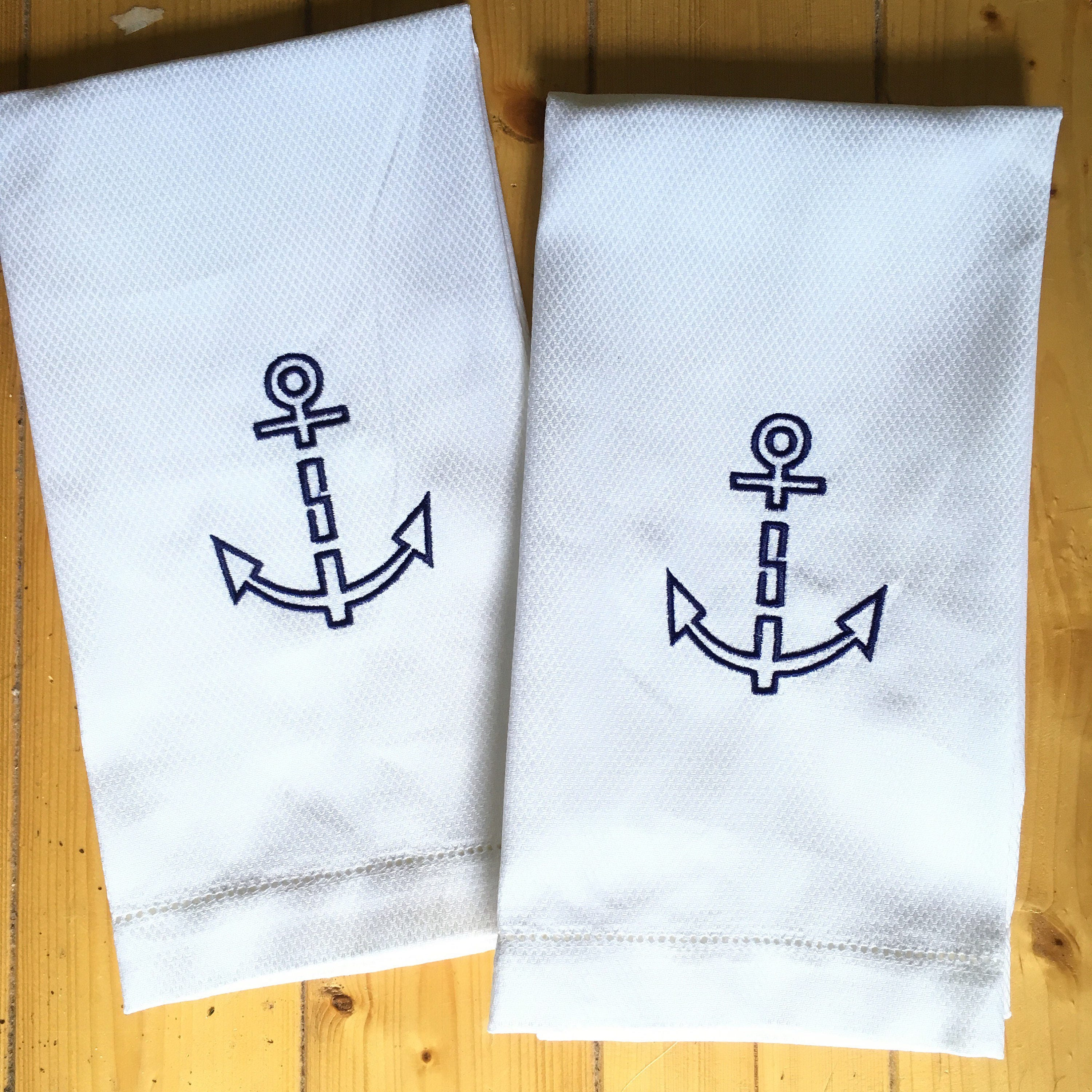 Embroidered Towels For Wedding Gift: Monogram Hand Towel With Embroidered Anchor / Wedding Gift