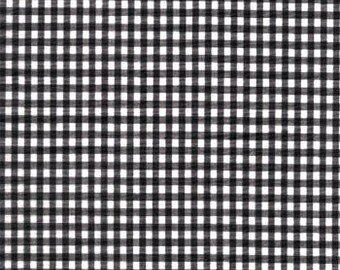 Homespun Cotton Fabric - Gingham Black and White 1/8 inch check