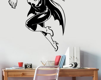 Batgirl Wall Decal Vinyl Sticker Marvel Comics Superhero Art Decorations for Home Housewares Bedroom Teen Kids Girls Room Decor btg1