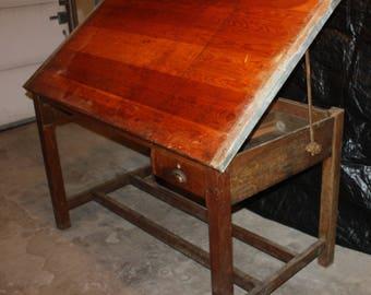 Solid Oak Dietzgen Drafting Table