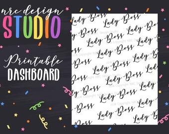 SALE Planner Dashboard Printable, Lady Boss Digital Paper, Printable Planner Paper - Lady Boss No. 03