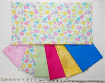 Easter Egg/Floral Bright Fabric -Fat Quarter Bundle 7pc.-Fairy Frost pink/glitter/honey yellow/mint/bright pink/solid kona/pastel (B266)