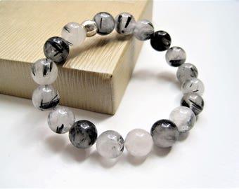 Rutile Quartz Stacking Bracelet / Beaded Stone Quartz Bracelet / Meditation Spiritual Growth