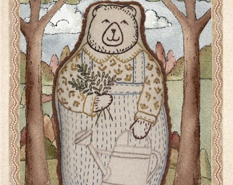 Embroidery pattern soft for for a bear with watering can and flowers
