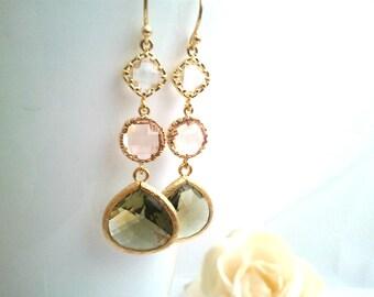 Olive Green Drop, Dangle, Earrings, bridesmaid gifts,Wedding jewelry, Gemstone, Peach Pink