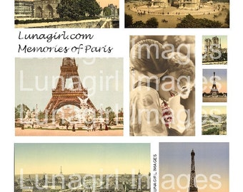 Vintage PARIS PHOTOS digital collage sheet, tinted travel postcards art, Eiffel Tower, Notre Dame, romantic couple, French ephemera DOWNLOAD