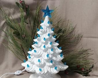 "Ceramic Christmas Tree Lighted 14"" Nowell Vintage Mold - Scandia Blue Glaze - Star"