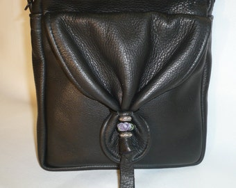 BLACK LEATHER SHOULDER and Crossbody Bag with Beaded Design Style #LL1