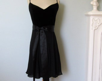 Black Silk Dress, Velvet Dress, Anne Klein Dress, Little Black Dress, New Years Dress, Black Dress, Black Velvet Dress, Black Evening Dress