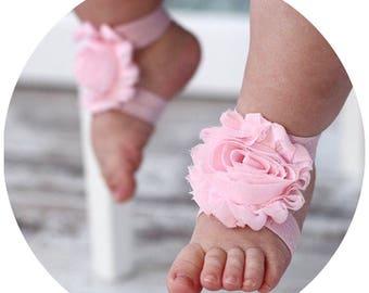 Shabby Chic, Baby Barefoot Sandals, Headband, Paci Clip, Baby Shower Gift Set,