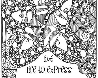COLORING PAGE- digital download with inspirational quotes