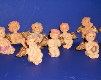 Hand Painted Resin Child Angels Set of 11 All Different