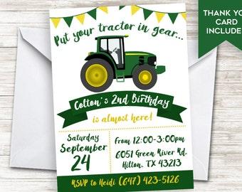 Green Tractor Invitation Invite 5x7 Digital Personalized Kids