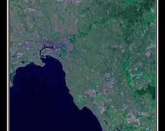 Melbourne Victoria Australia Satellite Poster Map