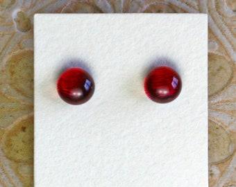 Dichroic Glass Earrings, Garnet Red  DGE-1398