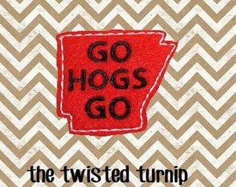 Arkansas Razorbacks Go Hogs Go Feltie Design Felty Design Felt Machine Embroidery Design 4x4 Hoop