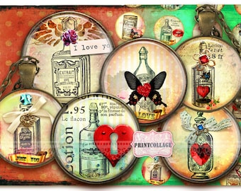 Love Potion Printable images Instant download Digital Collage Sheets Cabochon images 1.5inch 18mm 14mm 1inch circle bottle caps c166