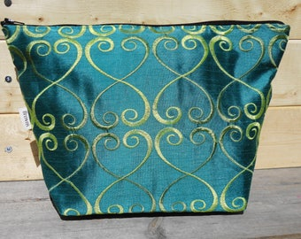 SALE Cosmetic Bag, Makeup Bag - Turquoise Swirl